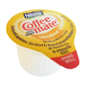 Nestle Coffeemate Hazelnut Coffee Creamer F07-0206005-0100 - 3/8 fl oz coffee creamer in individual size cup. A convenient travel size for on the go. No refrigeration needed. Natural and artificial flavors.