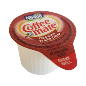 Nestle Coffeemate Cinnamon Vanilla Creme Coffee Creamer F07-0206007-0100 - 3/8 fl oz coffee creamer in individual size cup. A convenient travel size for on the go. No refrigeration needed. Natural and artificial flavors.