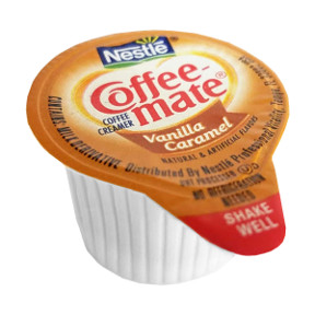 Nestle Coffee-Mate Creamer Vanilla Caramel F07-0206008-0100 - 3/8 fl oz cup. No refrigeration needed. Natural and artificial flavors.