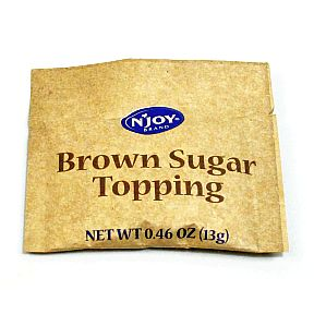 N Joy Brown Sugar Melt - for oatmeal F08-0106310-1200 - 0.46 oz brown sugar melt in individual size tear-top packet. A convenient travel size for on the go.