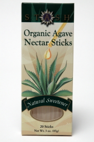 Stash Organic Agave Nectar Sticks - Natural Sweetener - box of 20 F08-0323716-9320 - 3 oz. box of 20 individual sticks sealed in a plastic straw. A convenient travel size for on the go. Natural sweetener. 100% Natural and Organic.