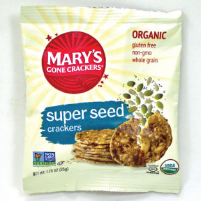 Mary's Gone Crackers® Organic Crackers -Super Seed F09-0132406-8200 - 1.25 oz. single serving crackers in sealed package. USDA Organic.