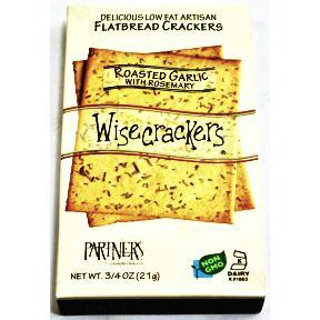 Wisecrackers® Roasted Garlic with Rosemary Flatbread Crackers F09-0187101-8200-3/4 oz. package of delicious Low Fat Artisan Flatbread Crackers.