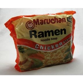 Maruchan Chicken Flavor Ramen Noodle Soup F10-0128001-7100 - 3 oz travel size chicken flavor ramen noodle soup in plastic package. 2 servings per package. Cooks in 3 minutes.