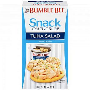 Bumble Bee Ready to Eat Tuna Salad with crackers F10-0242501-9200 - 3.5 oz box  containing 2.9 can tuna salad and crackers package.
