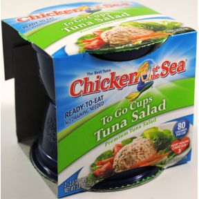 Chicken of the Sea Tuna Salad Cups F10-0256032-2100 - 2 - 2.8 oz tuna salad in sealed plastic cup. 80 calories per cup. Ready to eat. Wild caught. Dolphin safe.