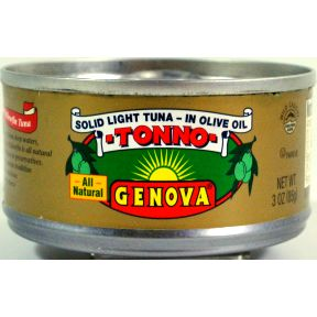 Genova Tonno solid light tuna in olive oil F10-0256071-9200 - 3 oz in easy open can