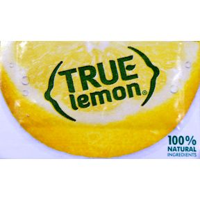 True Lemon Crystal Flavoring F11-0128601-1100 - 0.8 g packet. Pure crystallized lemon. 100% natural. Taste of 1 lemon wedge per packet. For water, tea, and recipes. 0 calories, 0 carbohydrates. No sweeteners.