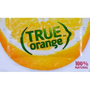 True Orange Crystallized Orange Substitute F11-0128603-1100 - 0.8 g packet. Crystallized orange. 100% natural ingredients. Equals 1 wedge. For water, tea, and recipes. 0 calories, No artificial sweeteners.