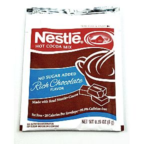 Nestle No Sugar Added Rich Chocolate Flavor Hot Cocoa Mix F20-1002402-7100 - 0.28 oz no sugar added hot cocoa beverage mix in individual size packet. Rich chocolate flavor, made with real Nestle Cocoa.