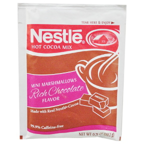 Nestle® Hot Cocoa Mix - Mini Marshmallows Rich Chocolate Flavor F20-1002403-7100-0.71 oz Rich Chocolate flavor hot cocoa beverage mix, with mini marshmallows, in individual size packet.