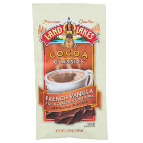 Land O Lakes Cocoa Classics French Vanilla & Chocolate F20-1006204-7200 - 1 1/4 oz french vanilla and chocolate flavor hot cocoa beverage mix in individual size packet. A convenient travel size for on the go.