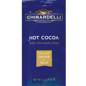 Ghirardelli® Premium Hot Cocoa - With Chocolate Chips F20-1033503-7200 - 1 oz. hot cocoa beverage mix with chocolate chips in individual size packet. A convenient travel size for on the go.