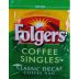 Folgers Decaf Coffee Singles F20-1207602-1100 - 100% pure coffee. Freshly brewed by the cup. Individual bag in sealed pouch. Naturally Decaffeinated. A convenient travel size for on the go.