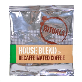 Rituals House Blend Coffee - Decaf F20-1217102-1200 - 0.6 oz individually sealed package. Brews 4 cups of blend coffee. A convenient travel size for on the go.