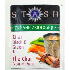 Stash Organic Tea - Premium Chai black & green F20-1623755-0000 - Single tea bag in sealed packet. Organic and natural.