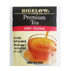 Bigelow Premium Ceylon Tea F20-1623801-0000 - Single tea bag in unsealed packet. 100% Ceylon tea. A rich, full-bodied tea.