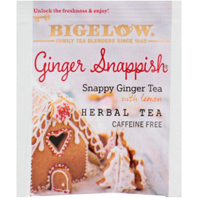 Bigelow Ginger Snappish Herbal Tea with Lemon F20-1623817-0000 - Single tea bag in sealed packet. No caffeine. Gluten free.