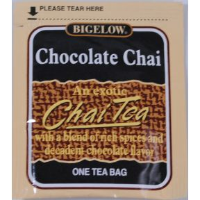 Bigelow Chocolate Chai Tea F20-1623820-0000 - Single tea bag in sealed packet.