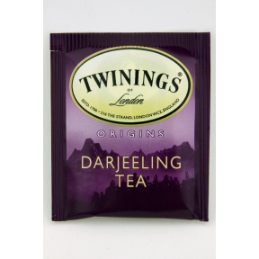 Twinings® of London Darjeeling Tea F20-1626907-0000 - Single tea bag in unsealed packet. One of the world's finest blends of teas, with a distinctive delicate flavour, grown at the foothills of the Himalayas.