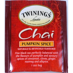 Twinings of London Pumpkin Spice Chai Tea F20-1626946-0000 - Single bag in sealed packet.