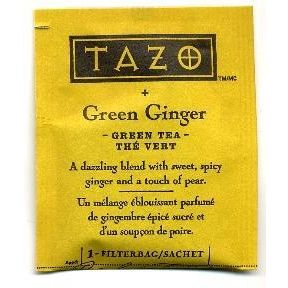 Tazo Green Ginger Green Tea F20-1708504-0000 - Single tea bag in sealed packet. Natural. A dazzling blend with sweet, spicy ginger and a touch of pear.