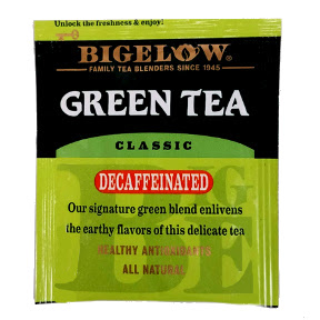 Bigelow® Green Tea Classic Decaffeinated F20-1723804-0000-Single tea bag in sealed packet. Healthy antioxidants. All Natural.