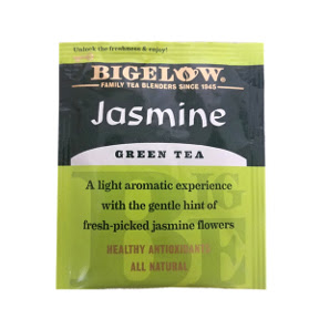 Bigelow Jasmine Green Tea F20-1723805-0000 - Single tea bag in sealed packet.