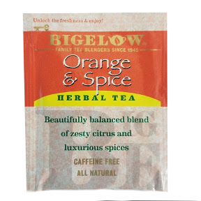 Bigelow Orange & Spice Herb Tea F20-1823813-0000 - Single tea bag in sealed packet. A flavorful blend of orange and spice. no caffeine.