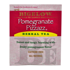 Bigelow® Pomegranate Pizzazz® Herbal Tea F20-1823825-0000-Single tea bag in sealed packet.