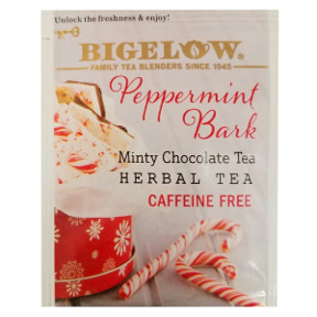 Bigelow® Peppermint Bark Tea F20-1823831-0000-a single tea bag in sealed packet.