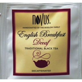 Novus® English Breakfast Decaf F20-1839821-0000 - Single bag in sealed package.