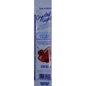 Crystal Light Natural Cherry Pomegranate F20-2209036-0100 - 0.11 oz packet. Vitamin enhanced drink mix. 5 calories per serving. Makes 2 servings. Mix with 16 oz water. Gluten Free.