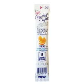 Crystal Light Sunrise Drink Mix - Classic Orange F20-2209920-0100 - 0.16 oz orange flavor beverage mix in travel size sealed packet. Sugar Free. 5 calories per serving. Just add 20 oz water. Makes 2 1/2 servings.