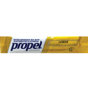 propel® Lemon F20-2354212-0100 -2.4g zero calorie packet.  Add to 16.9 fl oz of water.  Water beverage mix with electrolytes and vitamins.