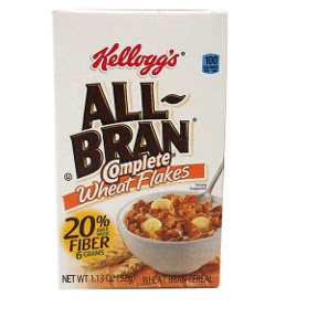 Kellogg's® All-Bran® Complete® Wheat Flakes (box) F25-2509106-4100-1.13 oz travel size wheat bran flakes cereal in individual serving size box.