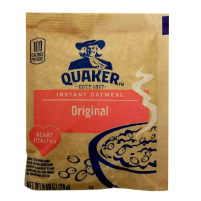 Quaker® Oatmeal Quick Oats - 1.5 oz F25-2609300-7200/ 1.5 oz travel size quick oats cereal in individual package.