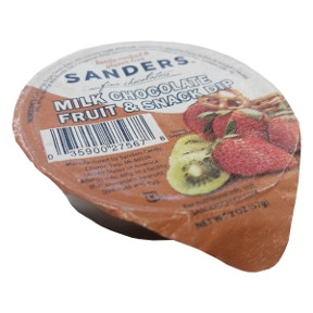 Sanders Milk Chocolate Fruit & Snack Dip Cup F28-4038701-3400-A single 2 oz. dipping cup of Milk Chocolate. Kettle cooked and Gluten Free.
