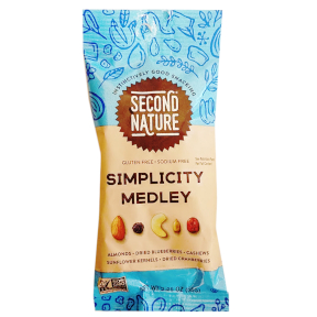Second Nature® Simplicity Medley F30-3287204-4300-2.25 oz. package of Naturally Sodium-free, raw nuts, dried fruits and sunflower kernels. All-Natural. Gluten-Free.
