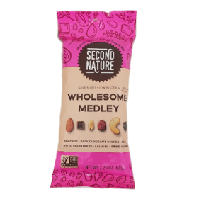 Second Nature® Wholesome Medley F30-3287205-4300-2.25 oz. package of sweet & savory, with gently roasted nuts, dried fruits and dark chocolate.