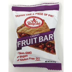 Betty Lou's Gluten Free Fruit Bars - Cherry F30-4032714-8200 - 2 oz fruit bar in individually sealed package. Gluten Free.