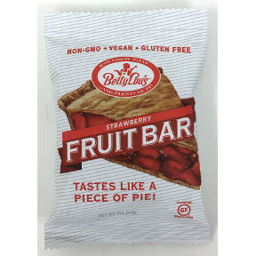 Betty Lous Gluten Free Fruit Bars - Strawberry F30-4032716-8200 - 2 oz fruit bar in individually sealed package.
