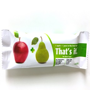 That's It.® Fruit Bar Apple & Pear F30-4085706-8100 - 1.2 oz. fruit bar. No added sugar.
