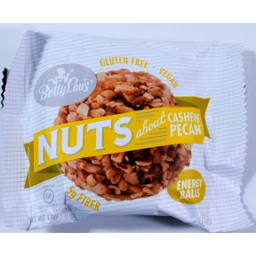 Betty Lou's Nut Butter Balls - Cashew Pecan F30-4132701-8100 - 1.4 oz package. Vegan. No transfat. No wheat, corn, or soy.