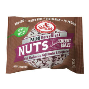 Betty Lou's® Nuts about Energy Balls Paleo Berry Blast - F30-4132722-8100 - 1.4 oz package.  Paleo, Non-GMO, Vegetarian.