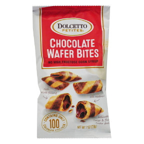 Dolcetto Petites® Chocolate Wafer Bites F32-4069204-8200-0.7 oz snack bag.