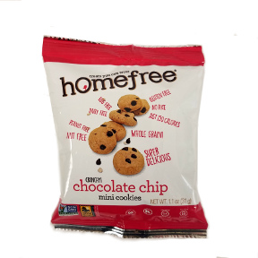 Homefree Gluten Free Mini Chocolate Chip Cookies F32-4385501-8100 - 1.1 oz. Bag of Mini Chocolate Chip Cookies.