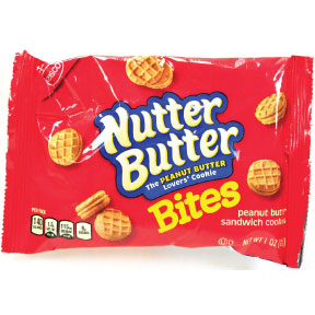 Nabisco Nutter Butter Bites F40-4209603-9000 - 1 oz. bag of mini peanut butter sandwich cookies.