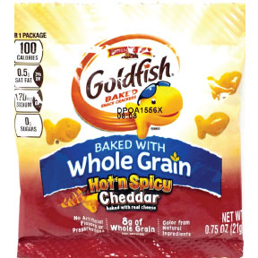 Pepperidge Farm® Goldfish® Flavor Blasted® extreme® Hot n Spicy Cheddar F40-4230012-9000 - 0.75 oz. single serving in sealed pouch.