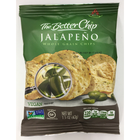 The Better Chip® Spicy Jalapeno Whole Grain Chips 1.5 oz. F40-4464211-8200 - 1.5 oz bag.  Vegan.  Non-GMO.  Certified Gluten-Free.